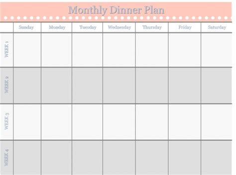 monthly food calendar template monthly dinner plan template home management binder