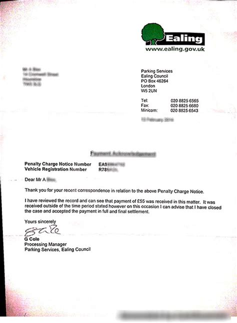 Letter Template Appeal A Parking testhome
