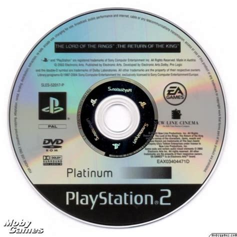 Disk Ps2 lord of the rings images lotr return of the king ps2