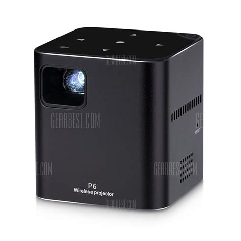 Wifi Portable Smart 183 with coupon for p6 portable smart mini dlp led wifi projector bright black from gearbest
