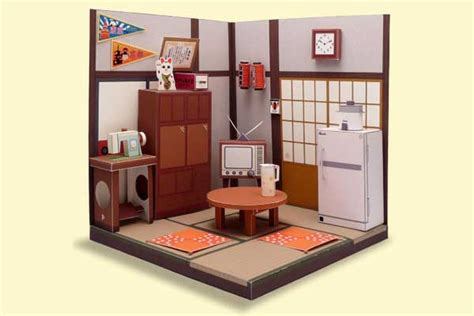 Papercraft Furniture - japanese living room diorama papercraft free template