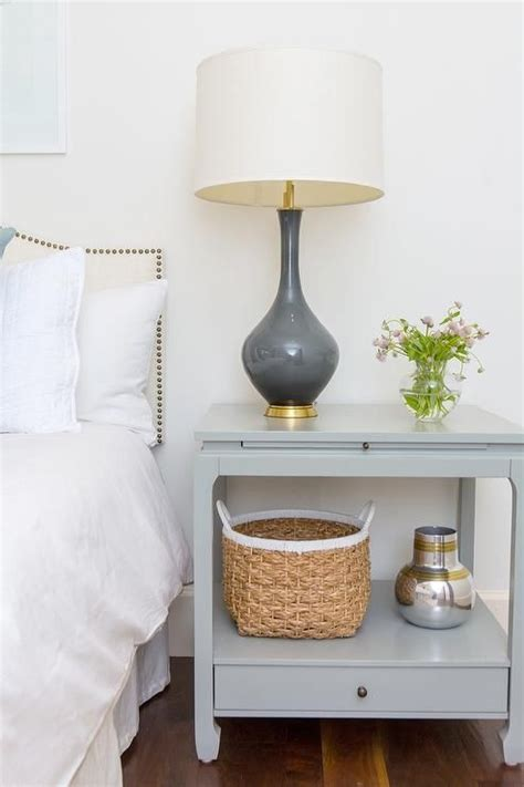 gray nightstand  charcoal gray lamp transitional