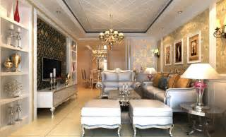 luxury villa living room lighting rendering