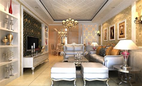luxury living room luxury villa living room lighting rendering
