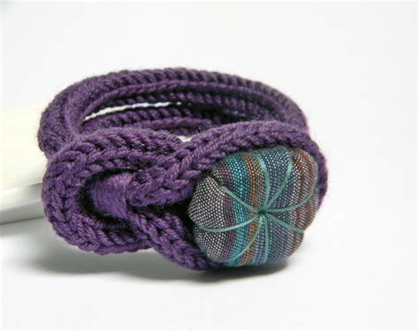 Handmade Yarn Bracelets - purple knitted wool yarn bracelet noemi handmade fabric