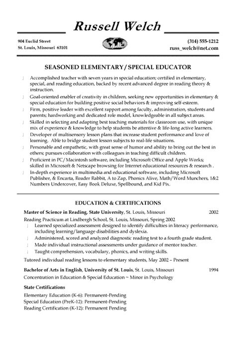 education in resume exles special education teaching resume exle