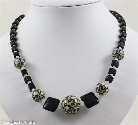 zebra pattern necklace zebra print black and white beaded necklace with white jade