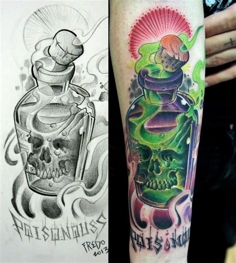 skull in poison bottle tattoo on sleeve