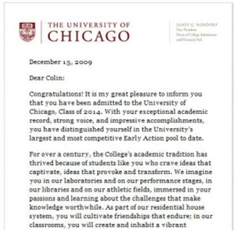 Acceptance Letter To Of Chicago Against The Hype Of Chicago