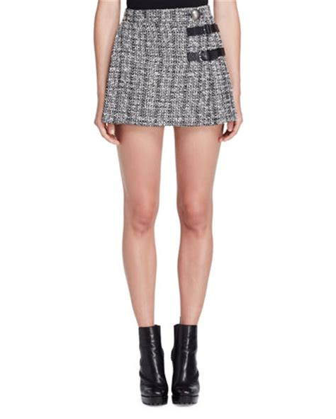 Ruffled Tweed A Line Miniskirt mcqueen clothing dresses jackets at neiman