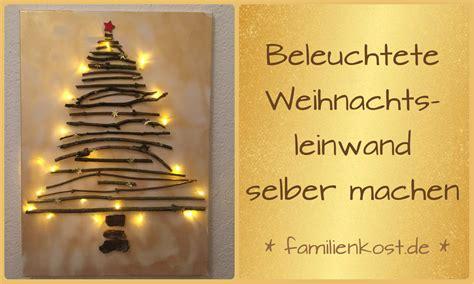 Basteln Leinwand Gestalten by Weihnachts Leinwand Mit Lichterkette Selber Machen
