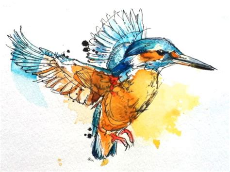watercolor tattoo orange county watercolor flying bird in orange and blue colors