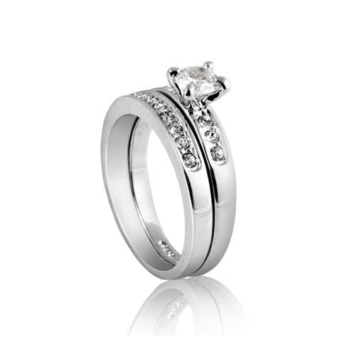 fashion plaza silver tone cubic zirconia engagement ring