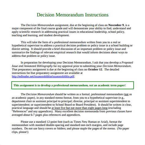 decision memo template sle decision memo 18 documents in pdf word