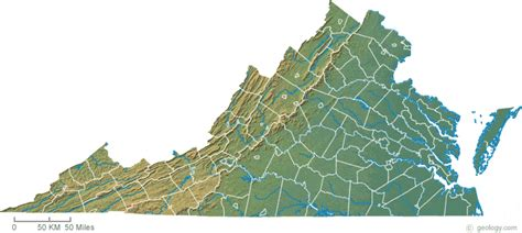 physical map of virginia virginia physical map and virginia topographic map