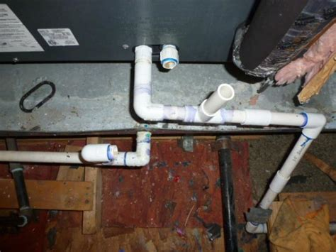 How To Get Air Out Of Plumbing by Two Pvc Pipes Leaving Furnace Ac Unit Connected Correctly