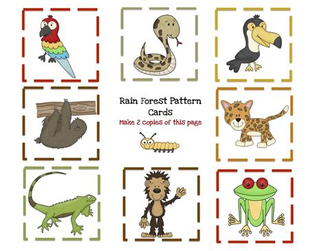 printable animal cards free free printable rainforest pattern cards with 8 pattern