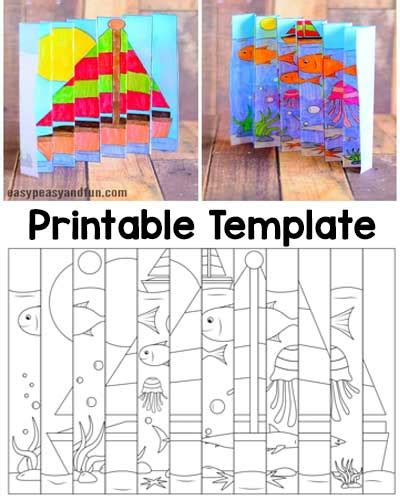 easy printable art projects summer agamograph template summer months fun projects