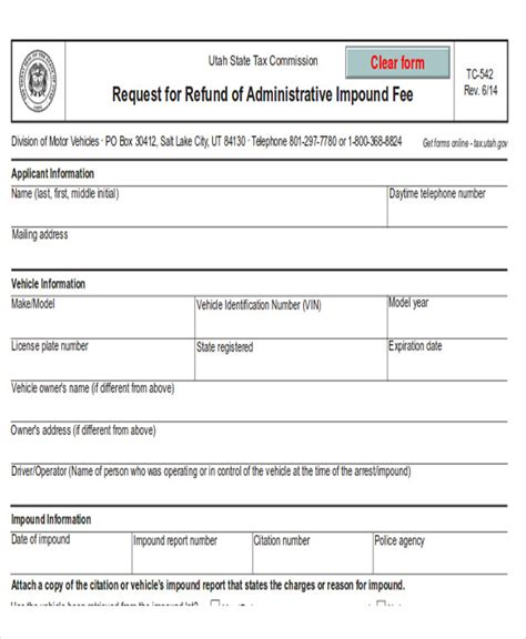 vehicle release form template release form for impounded vehicle vehicle ideas