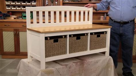 mudroom storage bench woodworking project woodsmith plans