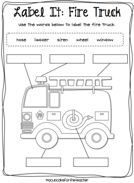 preschool fire safety booklet printables label it fire truck fire safety firefighters community