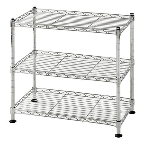 wire shelving rack rack 18 in w x 18 in h x 10 in d 3 shelf steel wire chrome finish commercial shelving