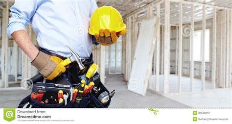 handyman with a tool belt royalty free stock images