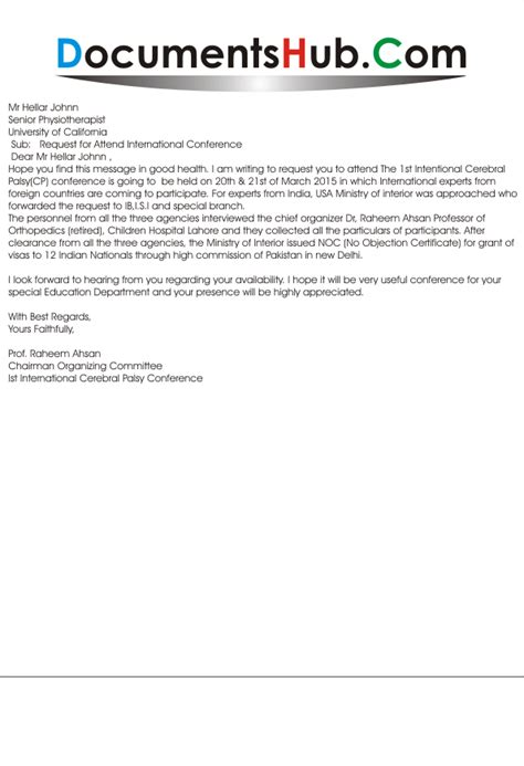 Request Letter To Attend Conference Request Letter To Attend International Cerebral Palsy Conference Documentshub