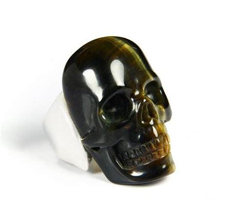 gemstone size 11 tiger eye carved skull with