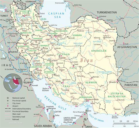 iran on a map iran capital map