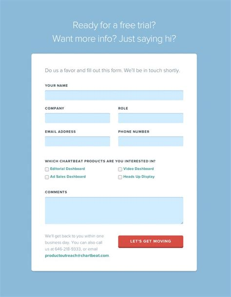 design email form nice looking form on chartbeat com contact us page