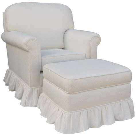 white chair and ottoman set angel song white matelasse upholstered rocker glider chair
