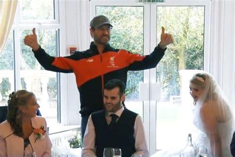 wedding guest shocked when bride and groom demand more liverpool boss jurgen klopp stuns wedding guests with