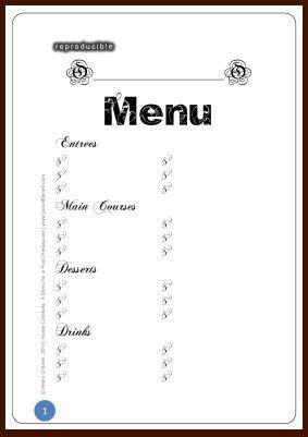 Free Printable Template Restaurant Menus The Warnhope Park Press Free Printable Worksheets Blank Theme Template