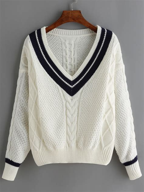 striped trim sweater white v neck striped trim sweater shein sheinside