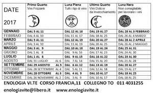 Calendario Lunare Ottobre 2017 Calendario Lunare Per Imbottigliare Vino 2017