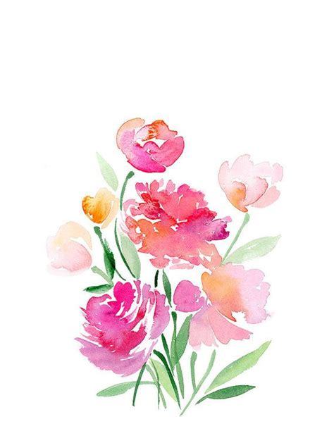 design your flower bouquet handmade watercolor flower bouquet 8x10 wall art