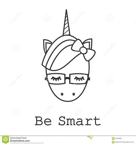 imagenes de unicornios en blanco y negro be smart motivational slogan card with cute cartoon black