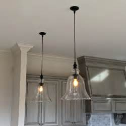 clear glass pendant lights for kitchen above kitchen counter large glass bell hanging pendant