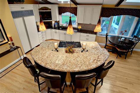 semi circular granite island contemporary kitchen