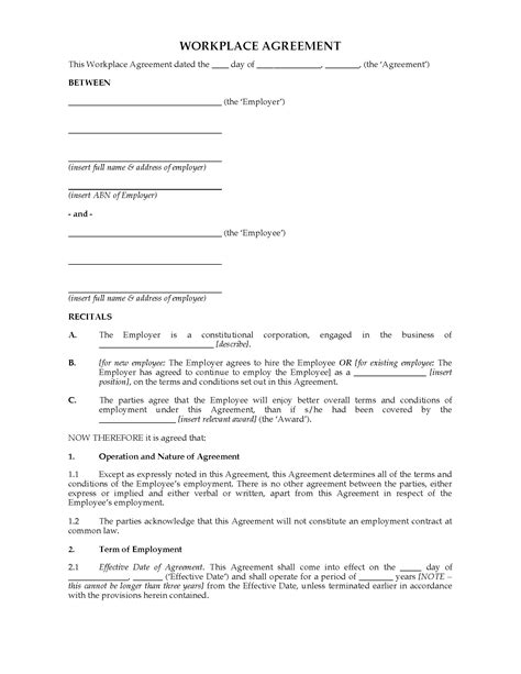 workplace agreement template australia workplace agreement template forms and