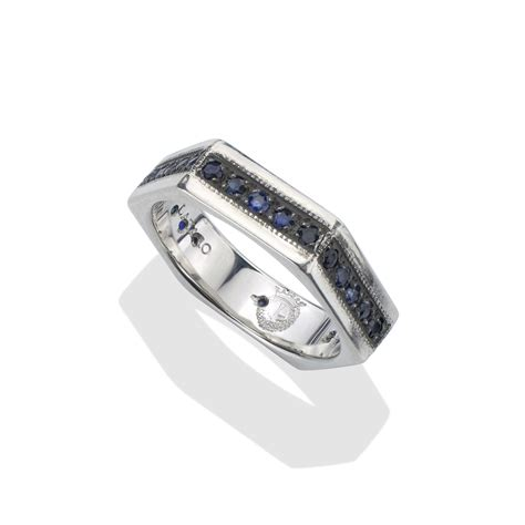 sapphire silver s bolt ring