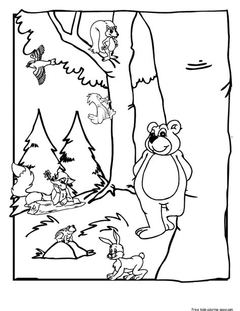 Printable Forest Animals Coloring Pages For Kidsfree Forest Coloring Pages Printable