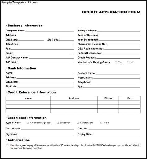 Credit Application Template Sle Business Credit Application Template Motorcycle