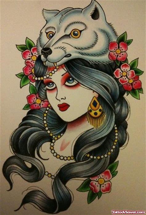 tattoo flash gypsy head taditional gypsy wolf tattoo tattoo viewer com