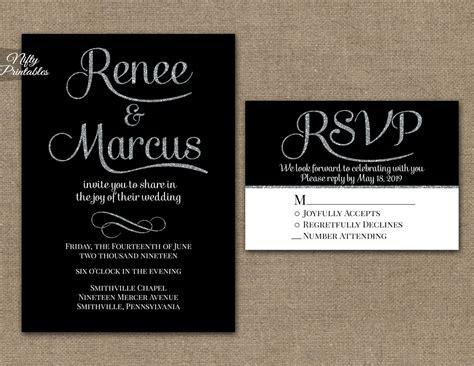 wedding invitation black and black silver wedding invitations nifty printables