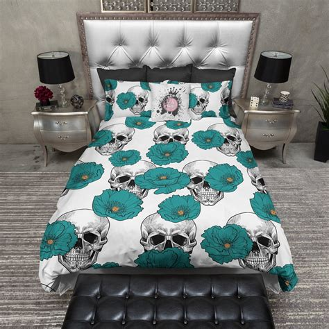 Teal And White Bedding by Teal Poppy And White Skull Bedding Ink And Rags