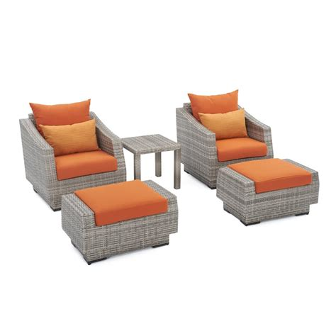 patio chair and ottoman set rst brands cannes 5 piece wicker patio club chair and