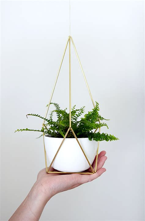 diy hanging plant pot nalle s house diy brass himmeli hanging planter
