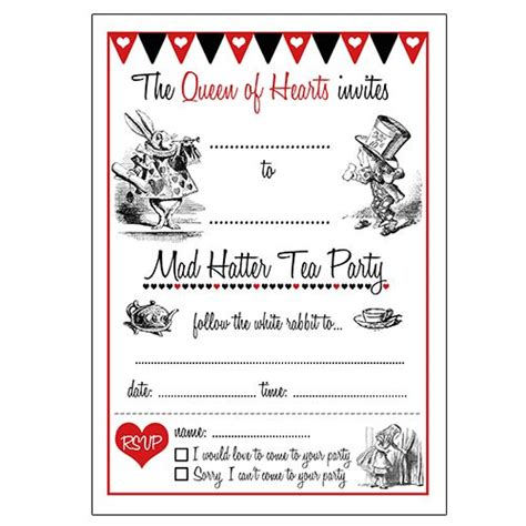 mad hatter card template in invitations free search